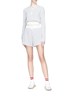 T By Alexander Wang Henley cropped waffle knit sweater