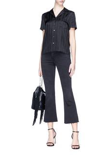 T By Alexander Wang 'T' stripe jacquard silk satin shirt