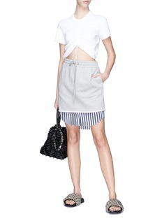 T By Alexander Wang Stripe shirt-tail sweat skirt