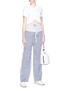 T By Alexander Wang French terry waist panel stripe twill wide leg pants