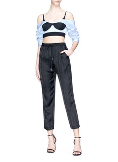 T By Alexander Wang 'T' stripe jacquard silk satin track pants