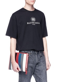 Balenciaga 'Bazar' stripe crinkled leather zip pouch