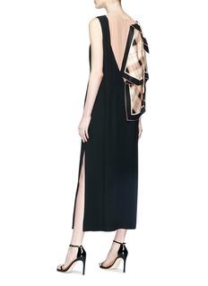 Dries Van Noten Glass crystal embellished scarf drape crepe dress