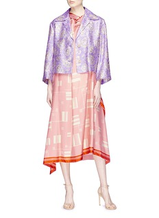 Dries Van Noten Geometric print silk satin scarf front crepe dress