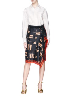 Dries Van Noten 'Panax' geometric print scarf overlay wrap shorts