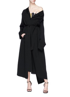 Dries Van Noten 'Rabio' organdy panel drop shoulder drape coat