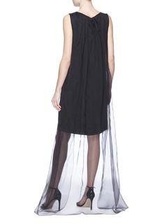 Dries Van Noten 'Domy' organdy cape back sleeveless dress