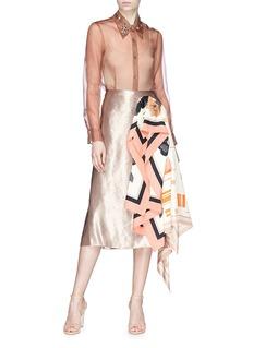 Dries Van Noten Glass crystal embellished collar silk organza shirt