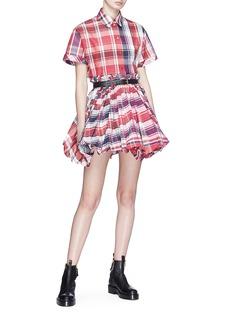 Alexander McQueen Detachable sleeve check plaid oversized shirt dress