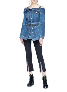 Alexander McQueen Layered zip hem off-shoulder denim jacket