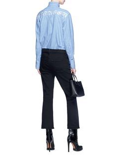 Alexander McQueen Logo embroidered ruffle collar denim shirt