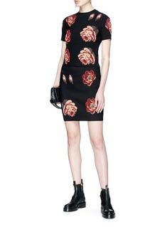 Alexander McQueen Rose jacquard knit top