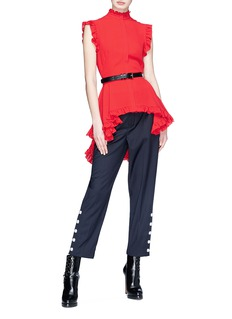 Alexander McQueen Ruffle silk georgette high-low top