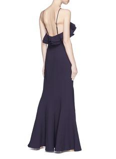 C/MEO COLLECTIVE  Outline荷叶边吊带绉绸及地礼服长裙