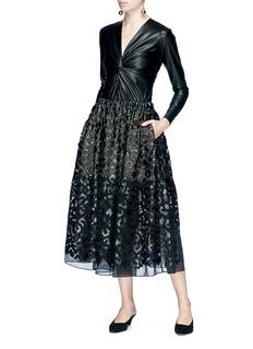 Stella McCartney Leopard appliqué organdy midi skirt