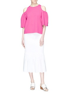 Stella McCartney Puff sleeve cold shoulder knit top