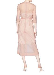 Victoria Beckham Organza overlay stripe strapless shirt dress