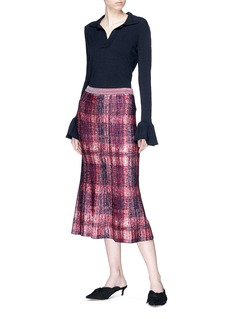 Victoria Beckham Check plaid flared silk-wool skirt