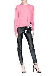Calvin Klein 205W39NYC Cowboy Boots插画系结布饰镂空针织衫