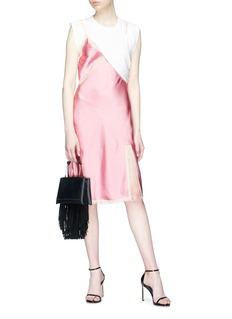 Alexander Wang  Asymmetric T-shirt overlay satin slip dress