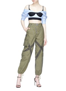 Alexander Wang  Bralette panel pinstripe poplin cropped off-shoulder top