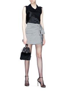 Alexander Wang  Sleeve tie wool-mohair mock wrap blazer skirt