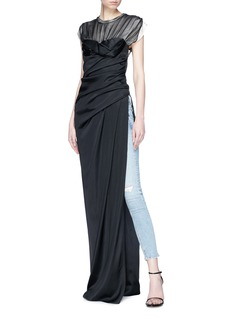 Alexander Wang  Split side contrast yoke twisted silk satin dress