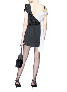 Alexander Wang  Mesh panel sleeve tie contrast deconstructed shirt dress