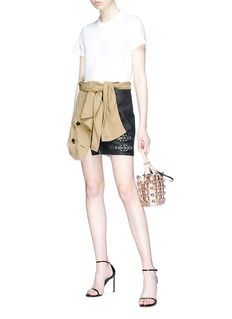 Alexander Wang  Sleeve tie deconstructed trench leather skirt