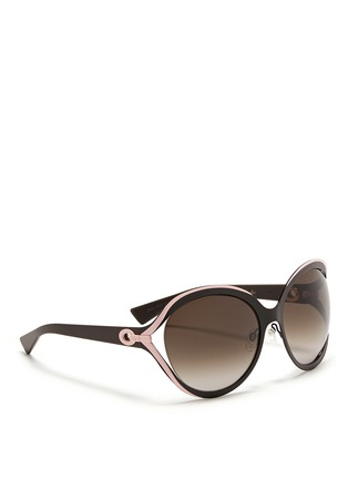 Figure View - Click To Enlarge - Dior - 'Elle 1' metal curve suspended sunglasses