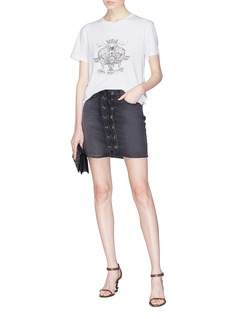 SAINT LAURENT 珠饰刺绣纯棉T恤