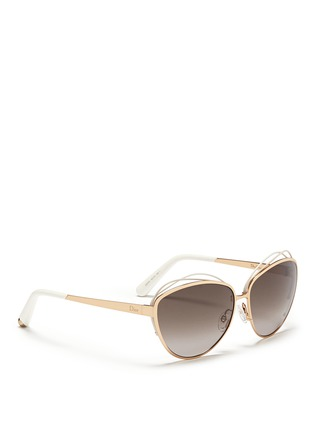 Figure View - Click To Enlarge - Dior - 'Songe' rubber twist brow bar metal sunglasses
