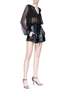 SAINT LAURENT Pleated lambskin leather shorts