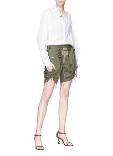 SAINT LAURENT Lace-up panel gabardine military shorts