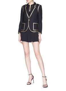 SAINT LAURENT Metallic trim gabardine blazer