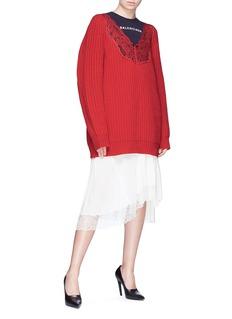 Balenciaga Lace yoke virgin wool rib knit oversized sweater