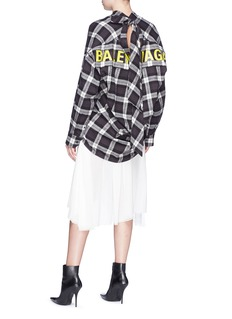 Balenciaga 'New Swing' logo print tie neck oversized flannel shirt