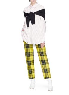 Balenciaga Detachable cuff tartan plaid virgin wool pants