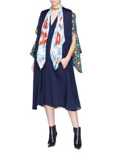 Balenciaga Floral print kimono overlay logo jacquard kaftan dress