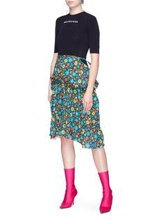 Balenciaga Logo print T-shirt panel floral print tie puff dress