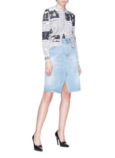Balenciaga Split front denim skirt