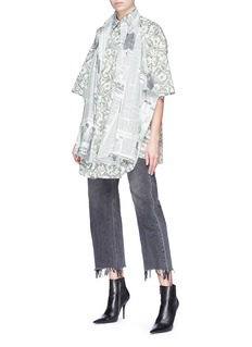 Balenciaga Newspaper dollar bill print convertible layered poplin shirt