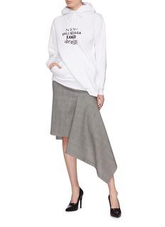 Balenciaga Drape godet houndstooth check plaid kick skirt