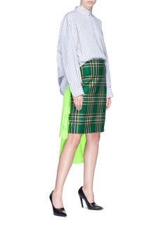 Balenciaga Tartan plaid virgin wool pencil skirt