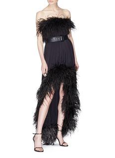 SAINT LAURENT Ostrich feather trim high-low strapless dress
