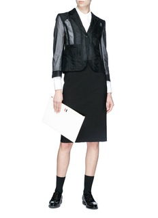Thom Browne Lace-up back tulle blazer