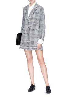 Thom Browne Abstract check plaid tulle tweed blazer