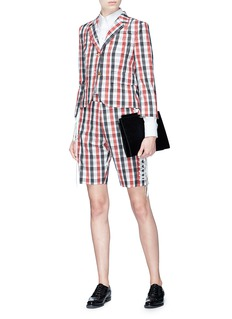 Thom Browne Lace-up back check plaid blazer