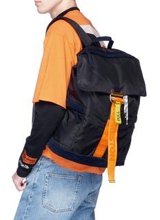 Heron Preston 绒面真皮拼接品牌名称搭扣带双肩包