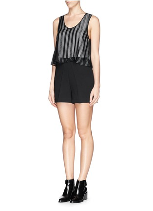Front View - Click To Enlarge - SANDRO - Sheer Bengal stripe romper